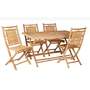 Bambus-sæt med bord og 4 stole   (501001)