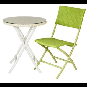 Cafesæt - bord og 2 klapstole -  4-line lime og hvid  ( 2 stk 442084 + 442093)