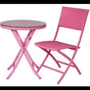 Cafesæt - bord og 2 klapstole -  4-line pink   ( 2 stk 442083 + 442091)