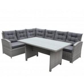 Hjørnesofa med bord, grå. (200031)