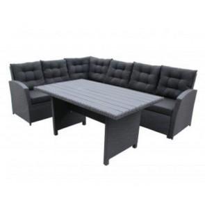 Hjørnesofa med bord, sort. (200030)
