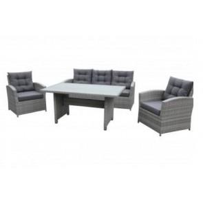 Sofasæt. Sofa, 2 stole og bord. Grå. (200036)