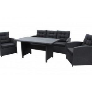 Sofasæt. Sofa, 2 stole og bord. Sort (200035)