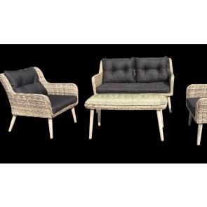 Sofasæt med 2.pers sofa, 2 stole og et bord Grå. (200073)
